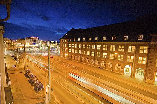Trams in Bremen by Night by Sydney Alvares