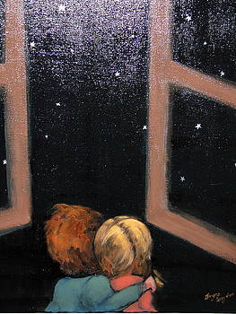 Two kids Stargazing by Joyce Snyder