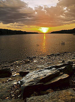 Water Stone and Sky by Ron  McGinnis