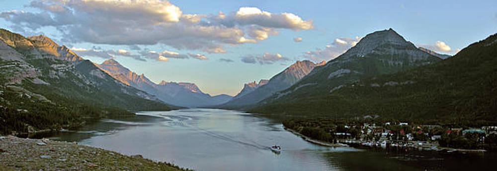 Waterton Lake Sunset Panorama by Larry Darnell