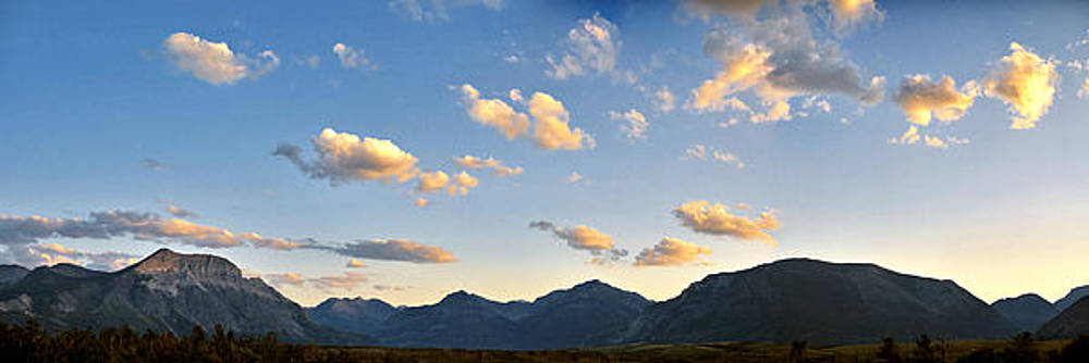 Waterton Sunset Panorama Waterton Lakes National Park Canadian Rockies Larry Darnell by Larry Darnell