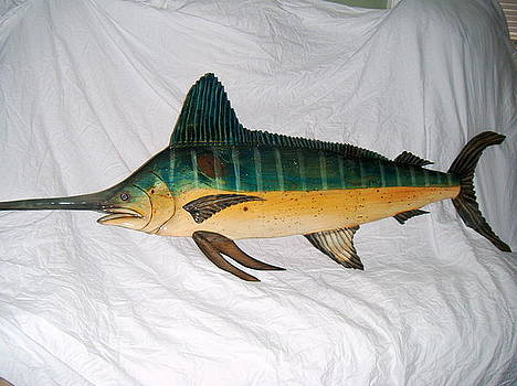 Wooden White Marlin number two by Lisa Ruggiero