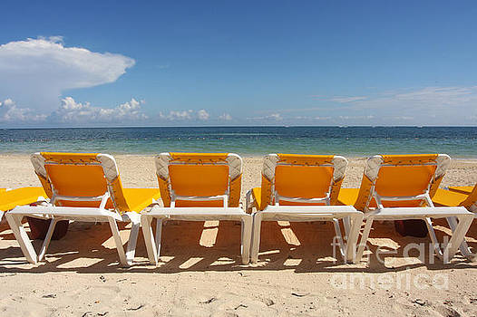 Yellow Beach Chairs by Julie Bostian