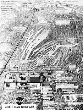 R Muirhead Art -  Aerial oblique artist concept of theNASA Merritt Island Launch Complex