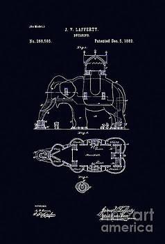 Tina Lavoie -  Antique Art Nouveau age Indian elephant building blueprint patent drawing