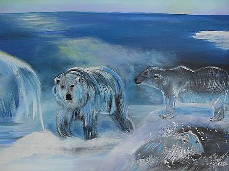 Carved ice Polar Bears by Aleta Parks