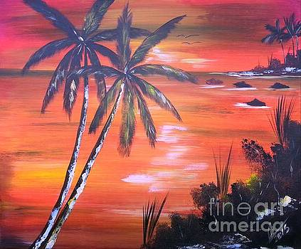 Coconut Palms  Sunset by Collin A Clarke