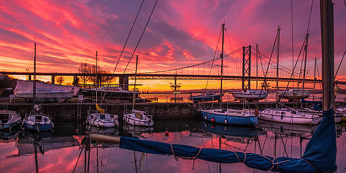 Glorious Sunset at South Queensferry Harbour by Tylie Duff
