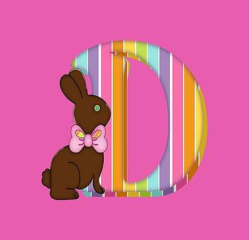 Letter D Chocolate Easter Bunny by Debra Miller