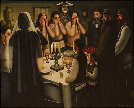 Lighting Shabbat Candles in the Shtetl Brody. by Eduard Gurevich