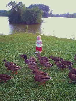 Little Angel With Ducks by Lynn Wood