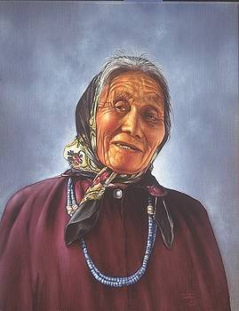 Native American Indian with scarf after Photographer Ray Manley in 1983 by Mahto Hogue