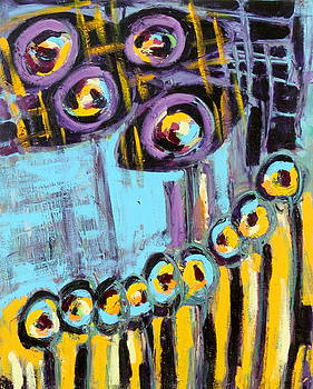 Night Moon Flowers Abstract by Maggis Art