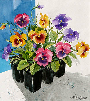 Pansies 'n  Pots  by Art Scholz
