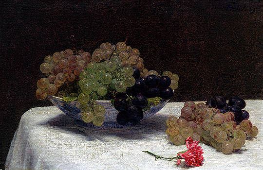 Henri Fantin-Latour -  Still Life with Grapes and a Carnation