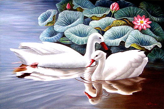 The waters of the lake grew patchy black The gliding of the ghostly swans became rare and more rare by Yuki Othsuka