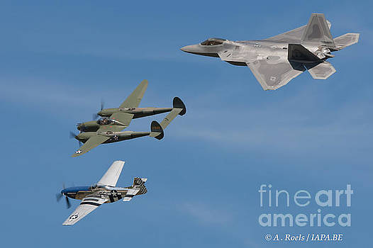 USAF Heritage flight with F-22, P-38 and P-51 by Antoine Roels