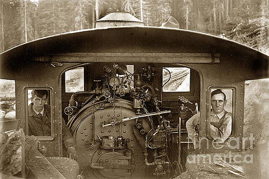 California Views Mr Pat Hathaway Archives -  View of inside the cab of Madera Sugar Pine Lumber Company circa 1915