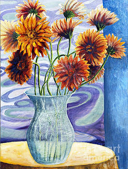 01305 Orange African Daisies by AnneKarin Glass