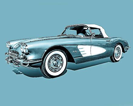 59 Corvette- Blue on Blue  by Jon Cody
