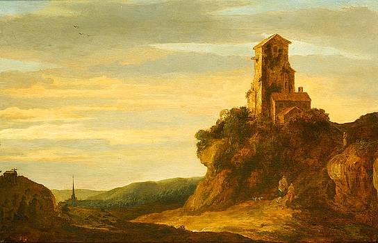 A Hilly Landscape with Wanderers at the Foot of a Castle Ruin by Pieter de Molijn