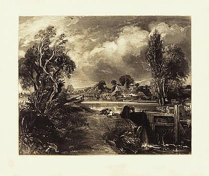 David Lucas after John Constable - A Lock on the Stour