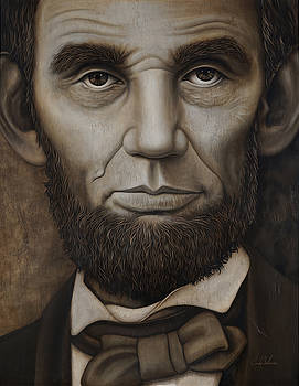Abraham Lincoln on Wood by Cindy Anderson