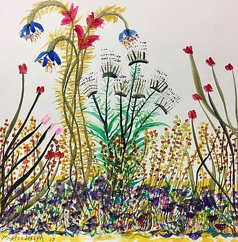 Abstract Flower Garden On White - 2 by Anthony Masterjoseph