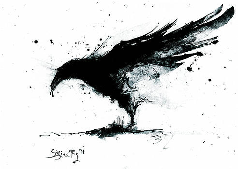 Abstract ink raven painting by Silja Erg