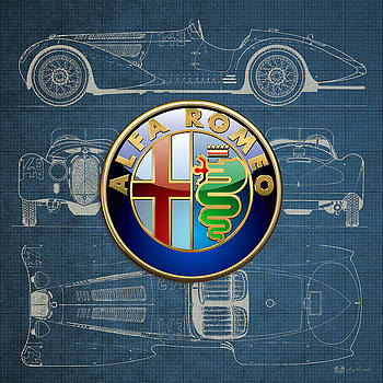 Serge Averbukh - Alfa Romeo 3 D Badge over 1938 Alfa Romeo 8 C 2900 B Vintage Blueprint