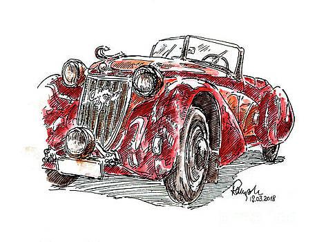 Frank Ramspott - Alfa Romeo 6C Gran Sport Fountain Pen Ink Drawing