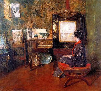 Alice in studio in Shinnecock Long Island Sun by William Merritt