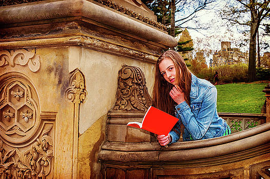 Alexander Image - American Teenage Girl Reading Book Outside on Campus in New York