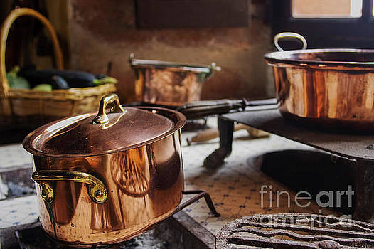 Antique copper cooking pans  by Patricia Hofmeester