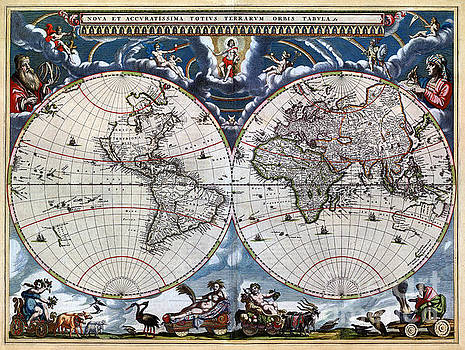 Antique old world map 1664 Restored by Vintage Treasure