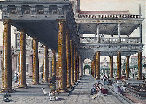 Architectural Caprice with Figures by Hans Vredeman de Vries