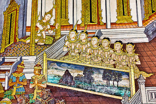 Art thai painting on wall in temple. by Wetchawut Masathianwong
