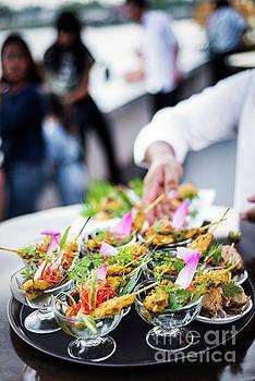 Asian Chicken Satay Gourmet Snack Food In Modern Outdoor Bar by Jacek Malipan