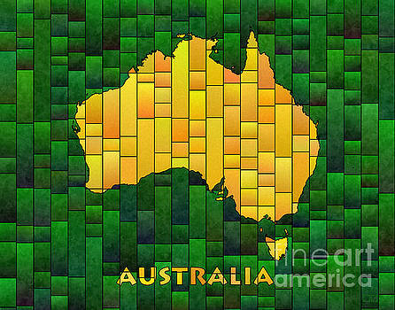Australia Map Glasa in Green and Yellow by Eleven Corners