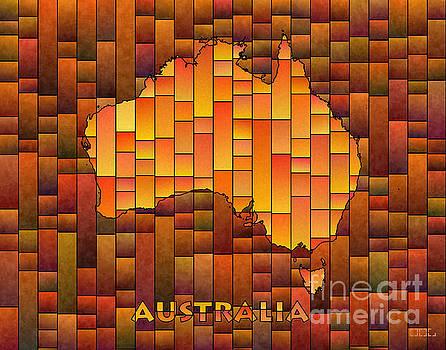 Australia Map Glasa in Orange by Eleven Corners