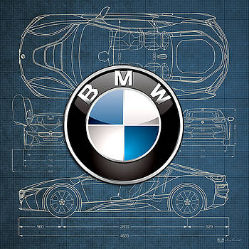 Serge Averbukh - B M W 3 D Badge over B M W i8 Blueprint