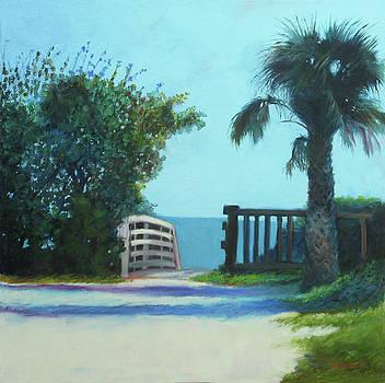 Beach Walk with Sea Grape by Sheila Psaledas