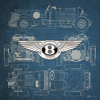 Serge Averbukh - Bentley - 3 D Badge over 1930 Bentley 4.5 Liter Blower Vintage Blueprint
