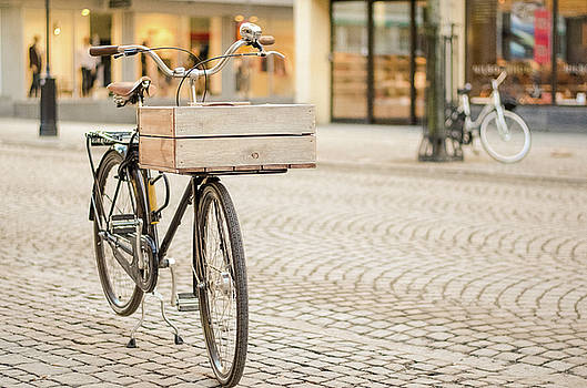 Bicycle with Wooden Basket by Marius Sipa