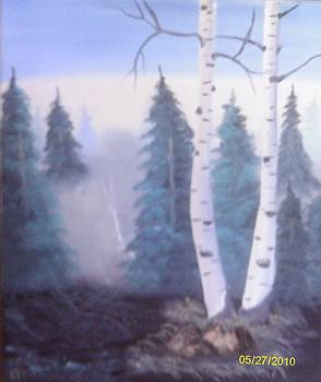Birch Tree and Morning Fog by Rosemary Mazzulla