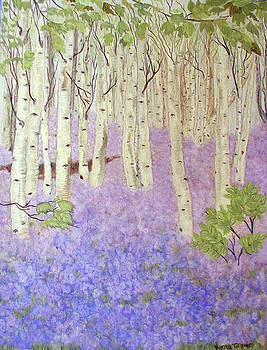 Birch Trees and Grape Hyacynths by Norma Tolliver