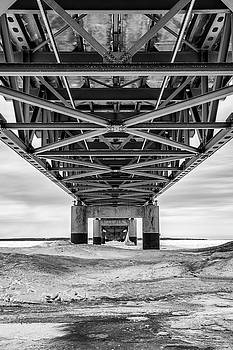 Black and White Mackinac Bridge Winter by John McGraw