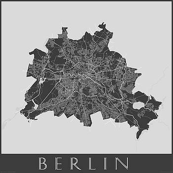 Black and White Map of Paris by Julie Witmer