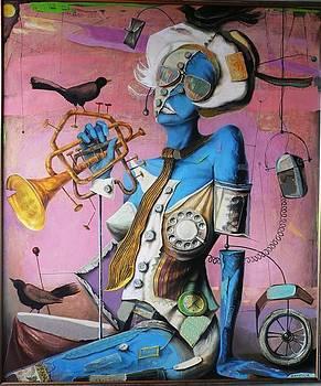 Blackbirds And Woman by Vakho Kakulia