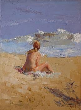 SOLD Blonde on Beach II by Irena  Jablonski
